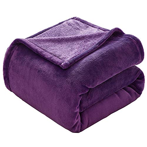 VEEYOO Flannel Fleece Blankets Throw Size - Purple Throw Blankets for Babies Teens Bed Blankets Lightweight Cozy Couch Blanket Plush Fuzzy Microfiber Blankets for Dogs, Pets (50x60 Inch Sofa Throws)