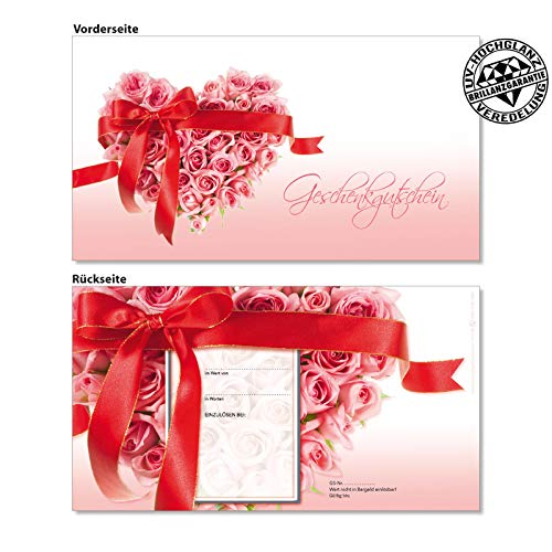 25 hochwertige Gutscheinkarten Geschenkgutscheine. Gutscheine für Wäsche Dessous Mode. Motiv Muttertag, Valentinstag. Vorderseite hochglänzend. U1250