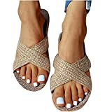 Nuevo 2021 Chanclas Mujer Flip flop Sandalias Verano planas Sandalias de Vestir suave Playa linaza Chanclas para Mujer Zapatos Sandalias de Punta Abierta Roma casual Fiesta Cómodo