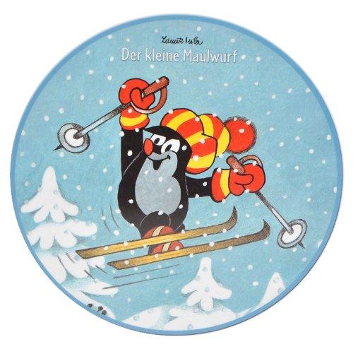 alles-meine.de GmbH 1 Stück: Fensterbild Winter - der kleine Maulwurf - Pauli - und Schneeflocken - Sticker Fenstersticker Aufkleber selbstklebend wiederverwendbar