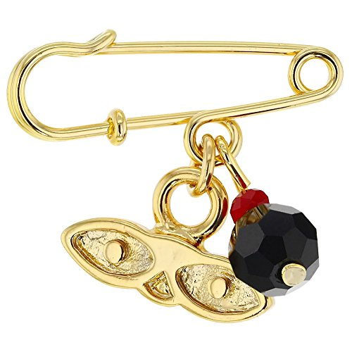 In Season Jewelry 14k Gold Plated St Lucy Simulated Azabache Protection Baby Pin Brooch
