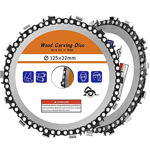 2 Piezas de 5 Pulgadas Disco de Talla de Madera 125 mm Amoladora angular Disco de cadena Disco de cadena de 14 dientes Herramientas de corte y ajuste de talla de madera Accesorios de sierra circular