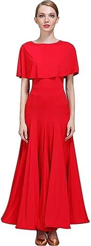 XXHDYR Costume de scène féminin Féminin Compétition Nationale de Danse Danse Moderne Perforhommece Vêtements (Couleur   rouge, Taille   L)