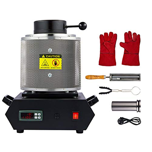 CO-Z 1900W Electric Gold Melting Furnace with Mesh Guard, 1500C Digital Metal Smelting Machine, Ingot Casting Kit with Copper Bronze Lead Tin Melting Pot Crucible Mould & Tongs, 3kg 6.6lb Cap