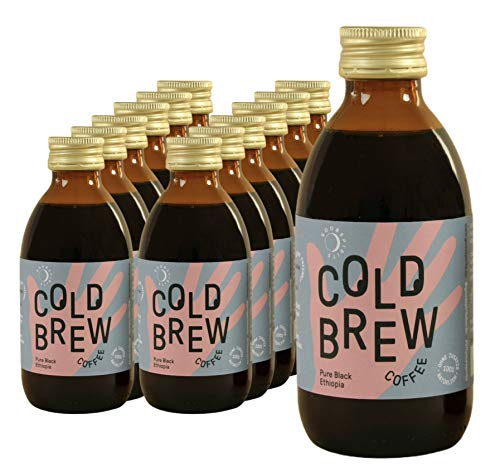 Good Spirits Bio Cold Brew Coffee Pure Black Ethiopia Kaffee Kaltgetränk, EINWEG (12 x 200 ml)