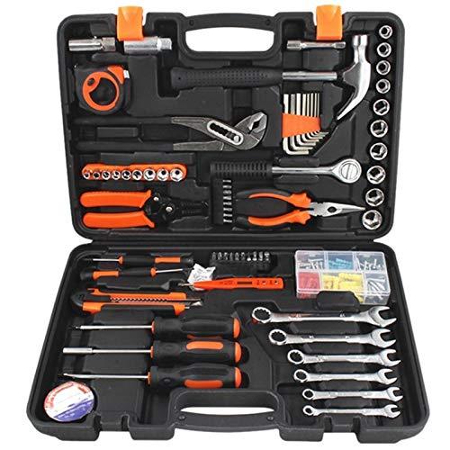 Herramienta del hogar del juego de herramientas manuales de reparación del sistema de herramienta con la caja de herramientas de plástico Llave de tubo Destornillador