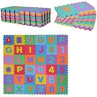 HOMCOM Alfombra puzle para Niños 192x192 cm 36 Piezas Numeros 0 al 9 y 26 Letras Alfabeto Goma Espuma