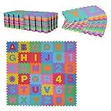 HOMCOM Alfombra Puzzle Infantil 36 Piezas de 31x31cm Números del 0 al 9 y 26 Letras Alfabeto Goma Espuma Alfombrilla de Juego para Bebés y Niños de 3,24㎡