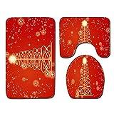 RUYUYM Alfombrillas De Baño Juego De 3 Piezas - Arbol De Navidad Dorado, Secado rápido Antideslizantes Alfombra de Pedestal + Tapa de Inodoro + Alfombrilla de baño(50 x 80 cm)