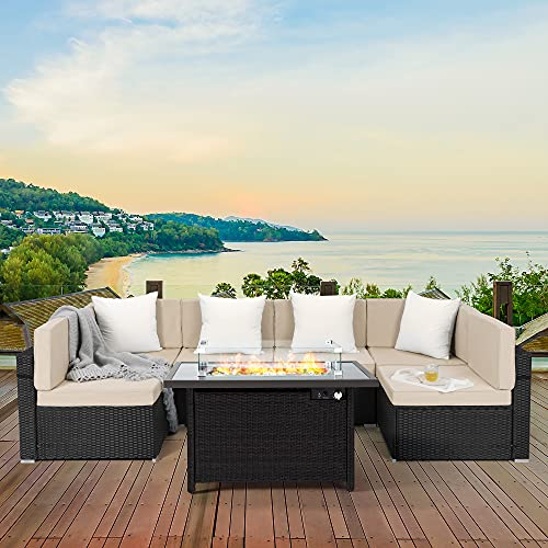 Pamapic 7 Pieces Patio Rattan Sofa with 42 Inch 50,000 BTU Auto-Ignition Outdoor Fire Pits, Patio Sectional Sofa Conversation Set for Garden Patio Backyard Deck Poolside (Black Wicker,Beige Cushions)