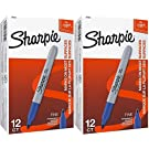 Sharpie 30003 Permanent Markers, 2 Packs of 12 Markers Each for a Total of 24 Markers, Blue; Alcohol-based Ink is Quick-drying and Nontoxic; Durable Ink is Fade-resistant and Water-resistant