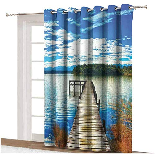Beach Shading Curtains Countryside with Lake Trees Pier Cloudy Summer Sky Water Reflection Rural Thermal Backing Sliding Glass Door Drape ,Single Panel 100x108 inch,for Glass Door Blue Orange Green
