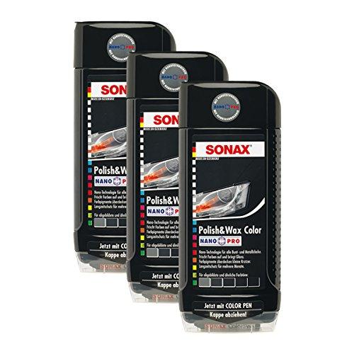 SONAX 3X 02961000 Polish & Wax Color NanoPro schwarz Autopolitur Wachs 500ml