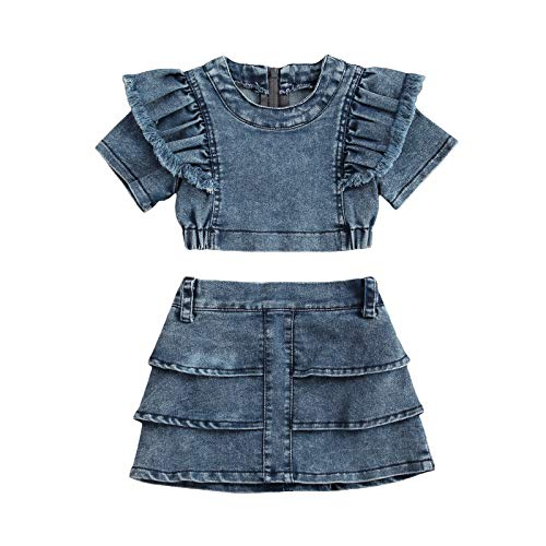 Toddler Kids Clothing Baby Girls Ruffle Crop Top and High Waist Layered Denim Shorts Skirts Outfits Clothes Set (Blue, 1-2T)