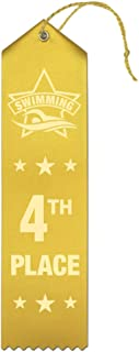 4th Place Swimming Award Ribbons - 25 Count Bundle – Includes Event Card and String – Made in The USA