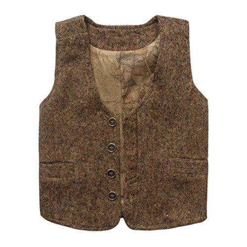 Coodebear Boys' Girls' Letters Lined Pockets Buttons V Collar Vests Brown Size 5T