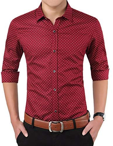 Super weston Men's Cotton Polka Print Dotted Regular Fit Shirts for Formal Use (Maroon, Large)