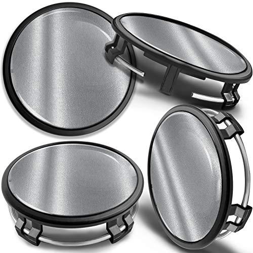 SkinoEu 4 x 75mm Tapas de Rueda de Centro Centrales Llantas Aluminio Compatibles con Tapacubos Mercedes Benz B66470207 / B66470200 Negro Plata CM 3