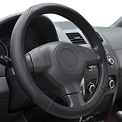 Elantrip Leather Steering Wheel Cover 14 1/2 to 15 inch Universal Anti Slip Odorless for Car Truck SUV Grey and Black