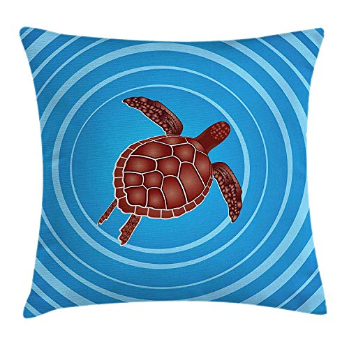 Turtle Throw Pillow Cushion Cover, Hypnotic Background with Circular Spirals with Cartoon Sea Reptile, Decorative Square Accent Pillow Case, 18 X 18 inches, Brown Azure Blue Baby Blue