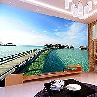 QHZSFF 壁画壁紙 海辺の木造橋 3D 写真の壁紙寝室の壁の家の装飾現代のクリエイティブリビングルームの子供の部屋の壁壁画 200 x 140cm