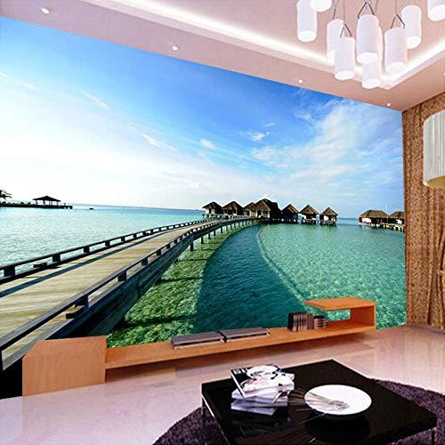 QHDHGR 3D Papel Pintado Murales Hawái y paisaje marino Dormitorio Sala Tv Fondo Decoración de Pared decorativos Murales 400 x 280 cm(anchura x altura)