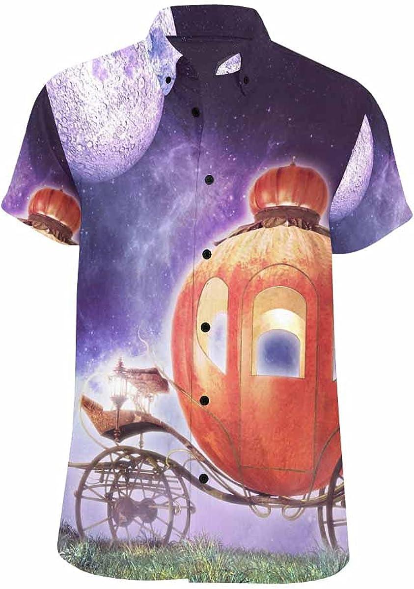 InterestPrint Halloween Moon High quality Night Popular standard Hawaiian Looser-Fit Shirt Sum