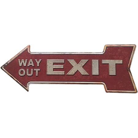 Flèche en forme de way out sortie en fonte métal pub bar pointant Panneau De Direction