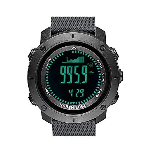 TCpick Mountain Klimmen Vissen Outdoor Horloge, Altimeter Barometer Kompas Backlight 3D Stepping Wereld Tijd Countdown Weer Voorspelling Alarm Klok 50M Waterdicht