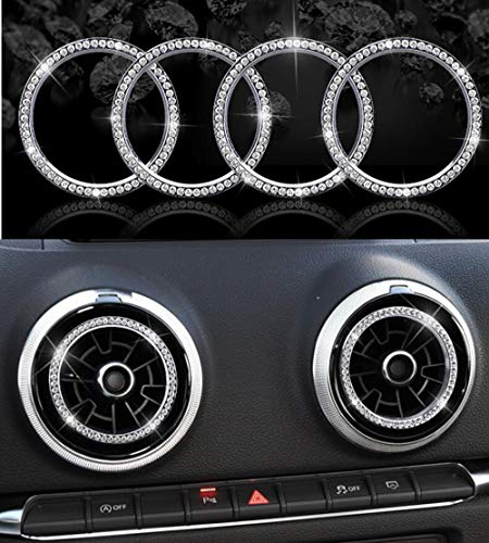 Car Interior Bling Accessories for Audi A3 air conditioner outlet 3D Rhinestone Decals Ring Car Bling Accessories for Women