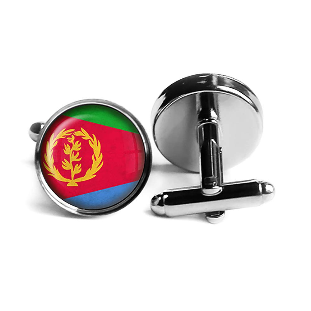 State of Outlet Phoenix Mall SALE Eritrea Flag Plated Silver Rhodium Cufflinks