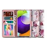 Tech-Protect Étui de protection en cuir à rabat pour Samsung Galaxy A52 4G / 5G Motif fleurs roses