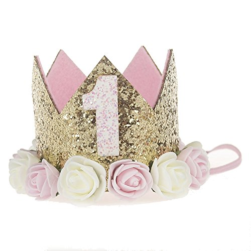 Baby Princess Tiara Crown, Baby Girls/Kids First Birthday Hat Sparkle Gold Flower Style with Artificial Rose Flower (1st Birthday Crown)