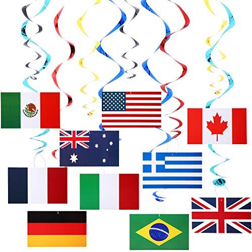 Boao Internationale Fahnen Wirbel Internationale Flagge Spiralen zum Aufhängen Olympischer Baumelnder Wirbel Internationale Fahnen Deckenwirbel für Olympische Party Dekorationen (20)