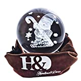 H&D HYALINE & DORA Bola de cristal Orbe de cristal grabado 3D Orbe de cristal Sante Claus con un bastón bola de cristal...