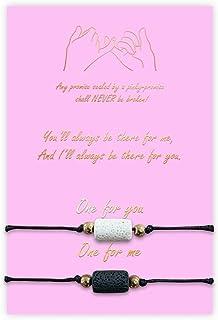 Friendship Couple Matching Bracelets,Pinky Promise Bracelets Adjustable Long Distance Relationship Gifts for Women Men Sister BFF Family Girlfriend Boyfriend (Essential Oil Beads)