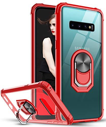 LeYi für Samsung Galaxy S10 Plus Hülle,Ringhalter Schutzhülle Crystal Clear Acryl Cover Air Cushion Bumper Handy Hüllen für Case Samsung Galaxy S10+ Plus Handyhülle Rot