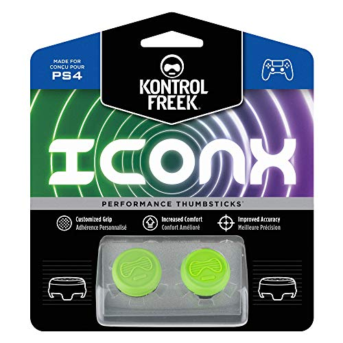KontrolFreek Icon X Performance Thumbsticks for PlayStation 4 (PS4) and PlayStation 5 (PS5) | 2 Mid-Rise Convex | Green