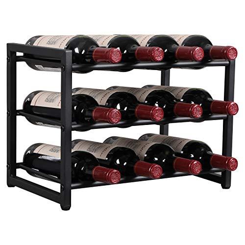 OROPY Estante de Vino de Metal, Botelleros de pie, Decoraciones para el hogar Vintage de Estilo Industrial de 3 Niveles para gabinetes/armarios/encimeras, 12 Botellas Negro