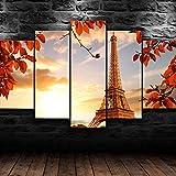 WHYQZ Impreso sobre Lienzo De 5 Piezas De Lienzo Torre Eiffel París Otoño Impreso Mural 5 Piezas Impresiones En Lienzo Decoración para El Arte De La Pared del Hogar Salón Oficina
