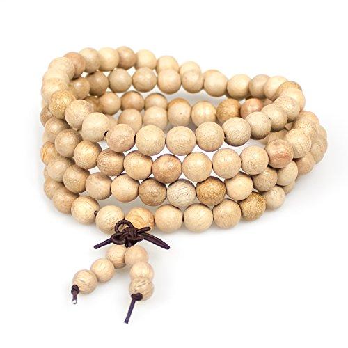 Necklace,Tibetan Buddha 108 8mm Camphor Wood Prayer Mala Beads Chinese Knot Wrist Bracelet Link(Camphor Wood)