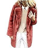 ZuzongYr Damen's Mäntel Abrigo de invierno para mujer con solapa, parka larga, de felpa rojo XXXL