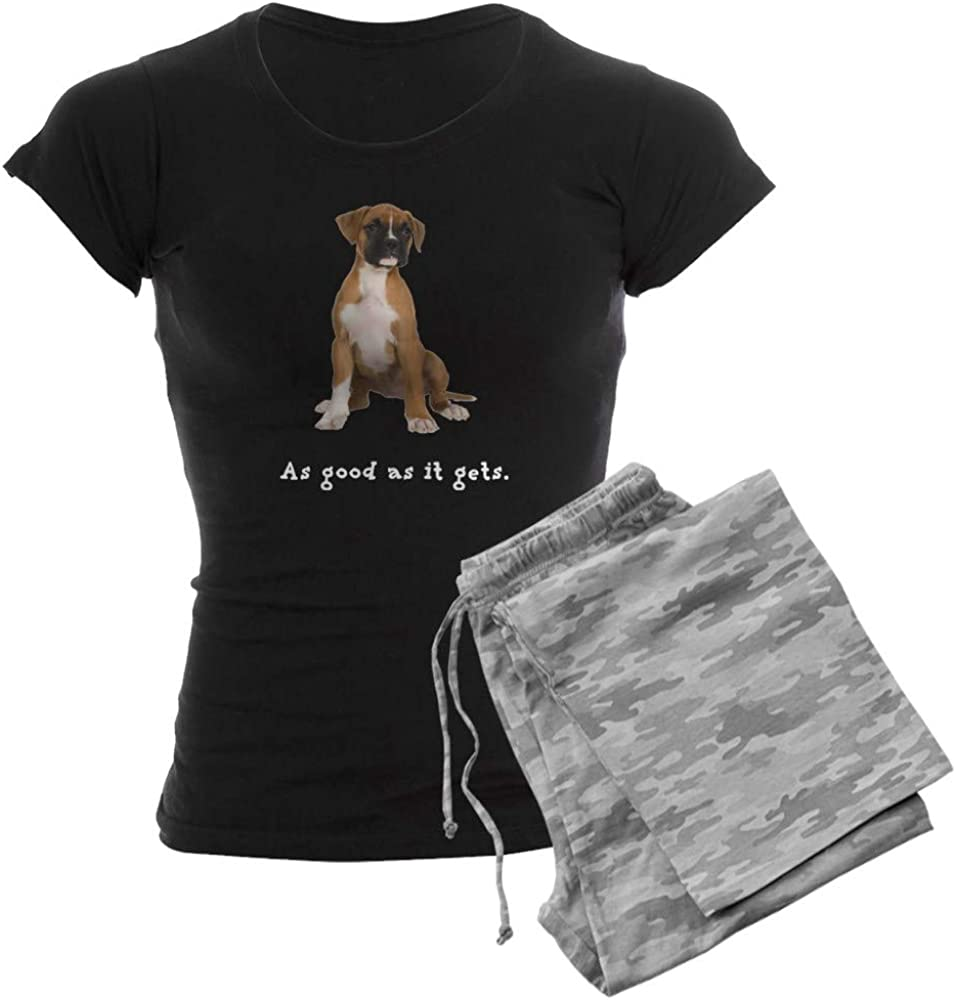 CafePress Good Boxer Puppy Finally Sales of SALE items from new works popular brand Pajamas Dark PJs Women's