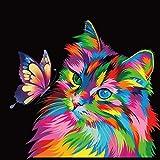 Jinlaili Colorido Gato Pintar por Numeros para Adultos Niños Pintura por Números con Pinceles y Pinturas Decoraciones, DIY Conjunto Completo de Pinturas para el Hogar (16*20 Pulgadas, Sin Marco)