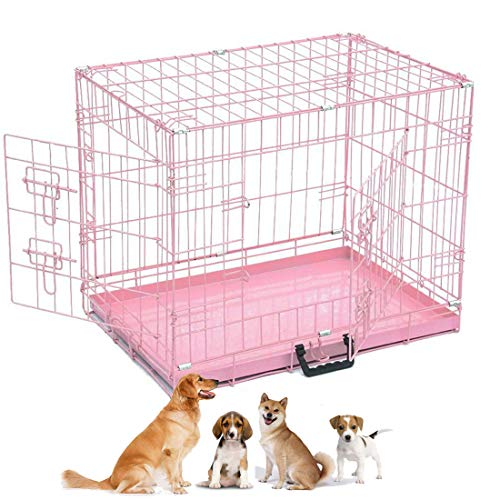 Pet Cage, 24 Inch Metal Dog Cat Puppy Training Folding Crate with Plastic Tray, Pink