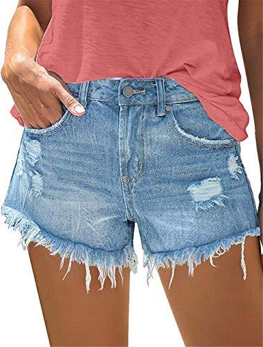 MODARANI Ripped Short for Women Denim Shorts Distressed Jean Shorts Mid Rise Jeans Boyfriend Frayed...