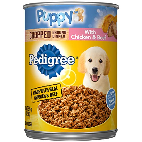 Pedigree Puppy Chopped Ground Dinner With Chicken & Beef Adult Canned Wet Dog Food, (12) 13.2 Oz....
