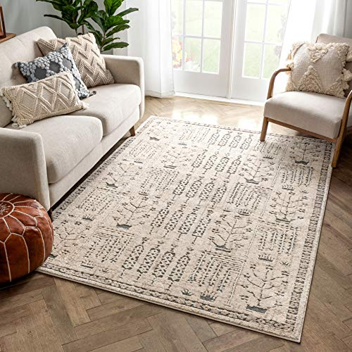 Well Woven Jetti Beige Tribal Geometric Floral Distressed High-Lo Pile Area Rug 160 x 220 cm (5'3' x 7'3' ft.)
