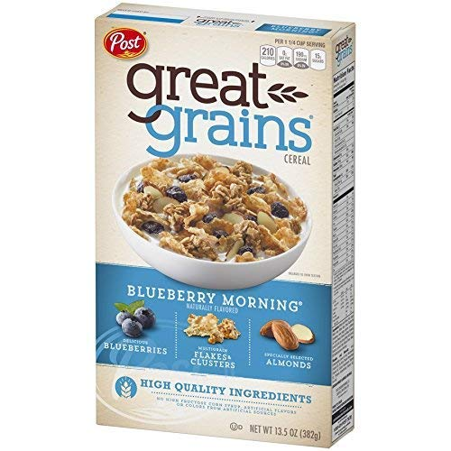 Post Great Grains Blueberry Morning Cereal, 13.5 Oz. Box (2 Pack) Pack of 10