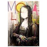 Faicai Art Banksy Graffiti Street Art Leinwandgemälde, Batman Shutterstock Pop Art Prints Poster Modern Home Decorations Kids Room Wall Decor Modern 24'x36' Mona Lisa